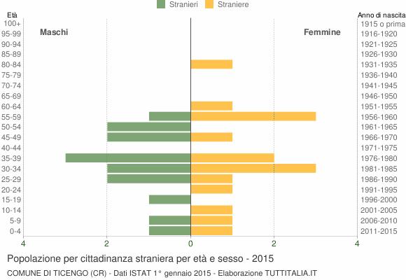 Grafico cittadini stranieri - Ticengo 2015