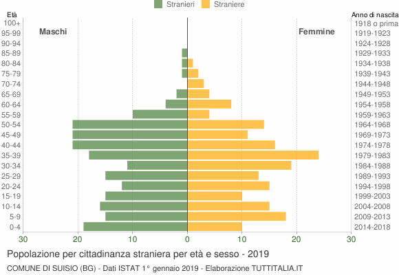 Grafico cittadini stranieri - Suisio 2019