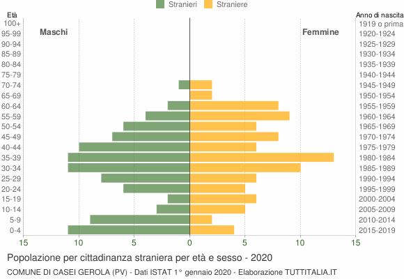 Grafico cittadini stranieri - Casei Gerola 2020