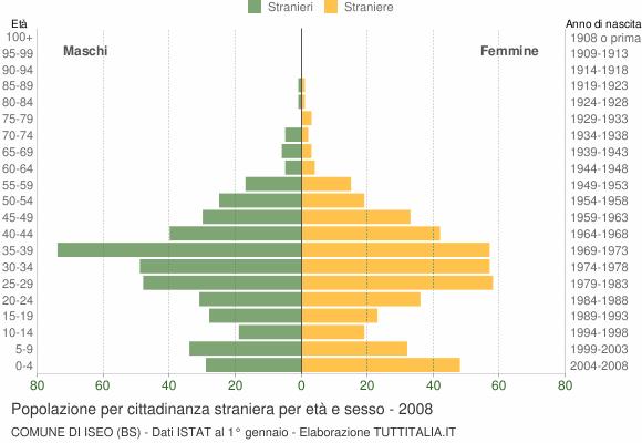 Grafico cittadini stranieri - Iseo 2008