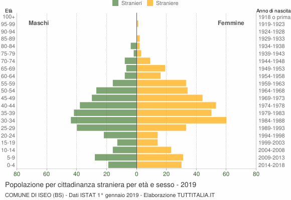 Grafico cittadini stranieri - Iseo 2019