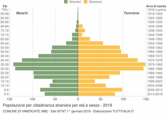 Grafico cittadini stranieri - Vimercate 2019