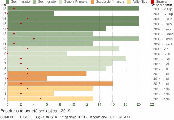 Grafico Popolazione in età scolastica - Cigole 2019