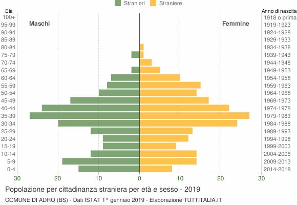 Grafico cittadini stranieri - Adro 2019