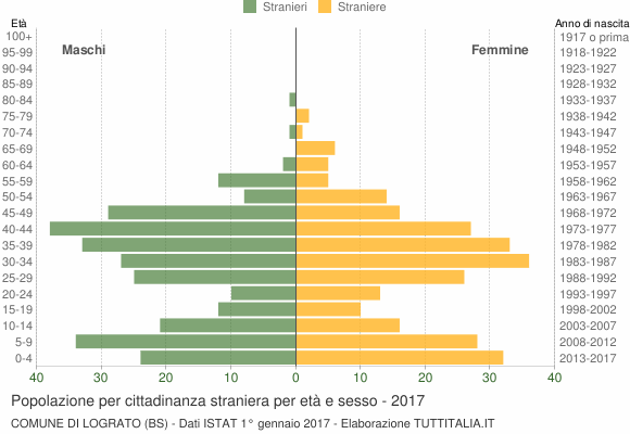 Grafico cittadini stranieri - Lograto 2017