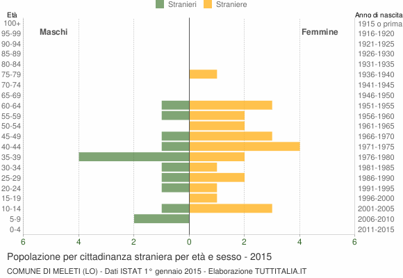 Grafico cittadini stranieri - Meleti 2015