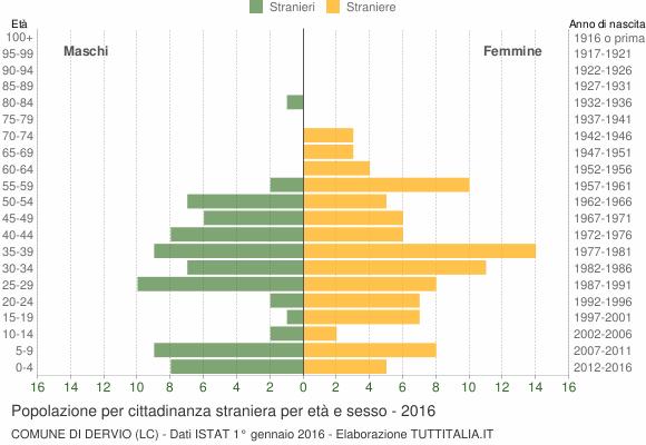 Grafico cittadini stranieri - Dervio 2016