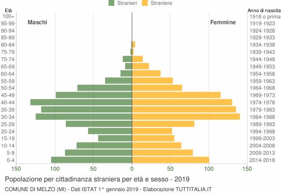 Grafico cittadini stranieri - Melzo 2019