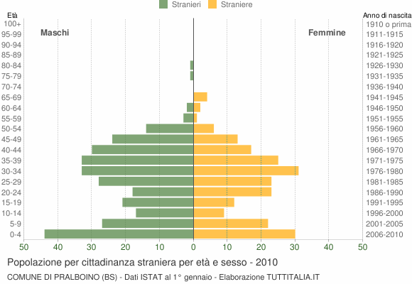 Grafico cittadini stranieri - Pralboino 2010