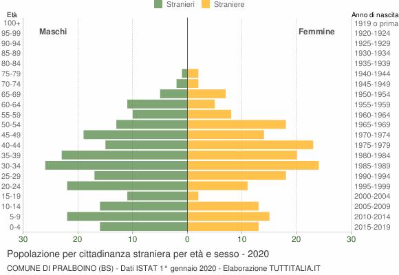 Grafico cittadini stranieri - Pralboino 2020