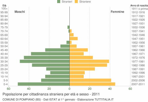 Grafico cittadini stranieri - Pompiano 2011
