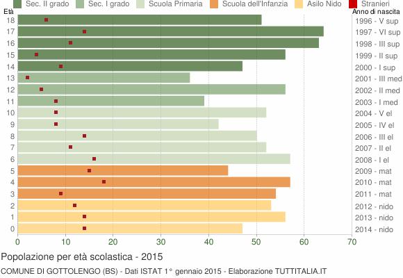 Grafico Popolazione in età scolastica - Gottolengo 2015