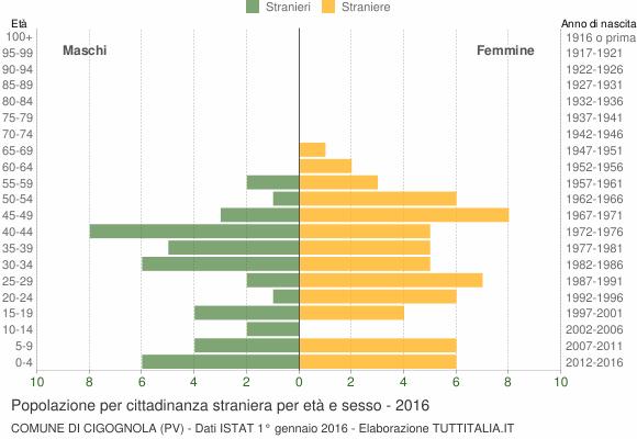 Grafico cittadini stranieri - Cigognola 2016