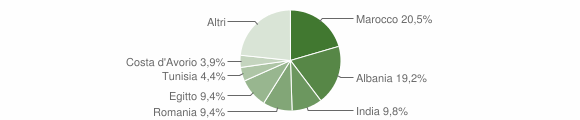 Grafico cittadinanza stranieri - Casirate d'Adda 2013
