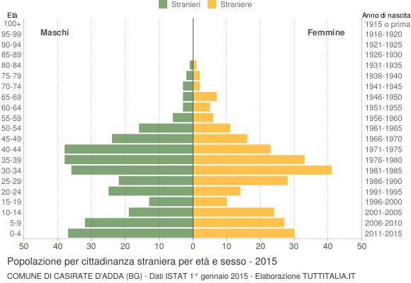 Grafico cittadini stranieri - Casirate d'Adda 2015