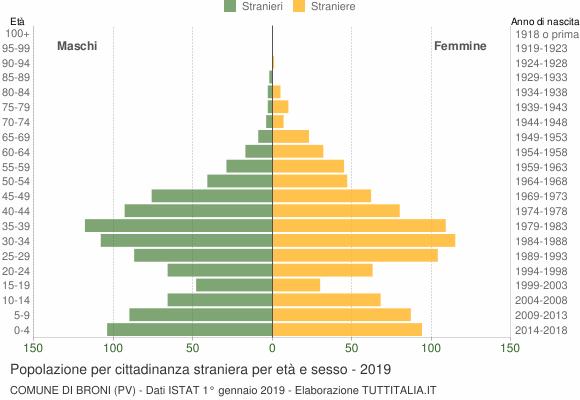 Grafico cittadini stranieri - Broni 2019