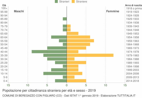 Grafico cittadini stranieri - Beregazzo con Figliaro 2019