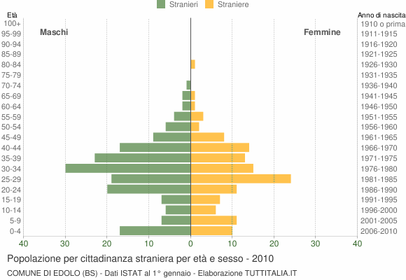 Grafico cittadini stranieri - Edolo 2010
