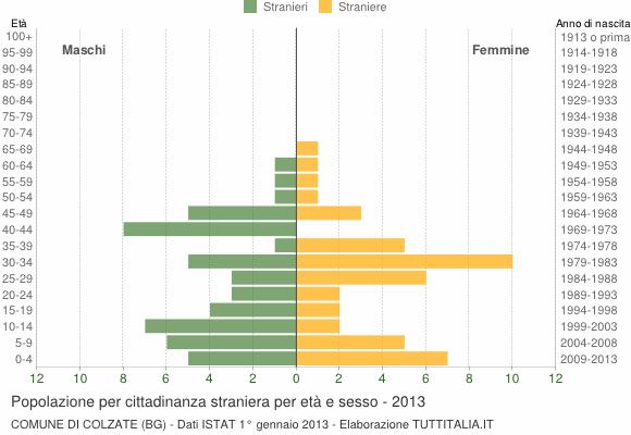 Grafico cittadini stranieri - Colzate 2013