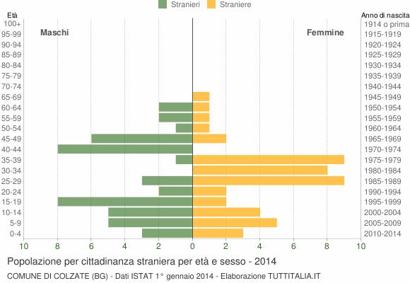 Grafico cittadini stranieri - Colzate 2014