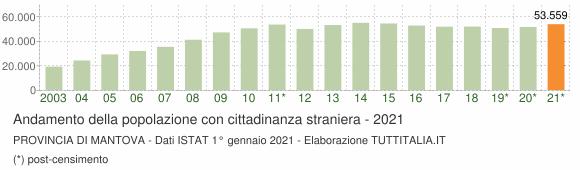 Grafico andamento popolazione stranieri Provincia di Mantova