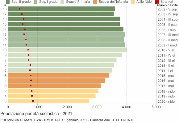 Grafico Popolazione in età scolastica - 2021