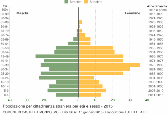 Grafico cittadini stranieri - Castelraimondo 2015