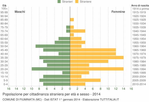 Grafico cittadini stranieri - Fiuminata 2014