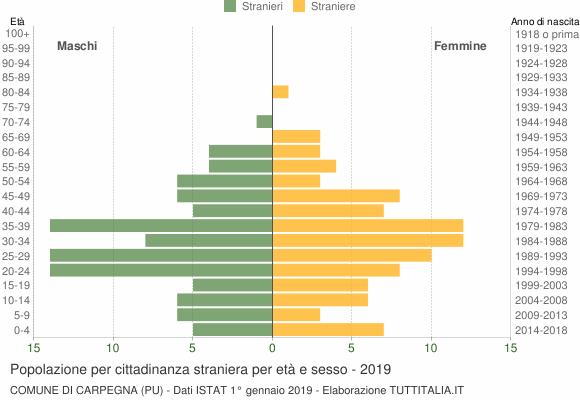 Grafico cittadini stranieri - Carpegna 2019