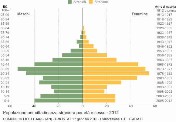 Grafico cittadini stranieri - Filottrano 2012