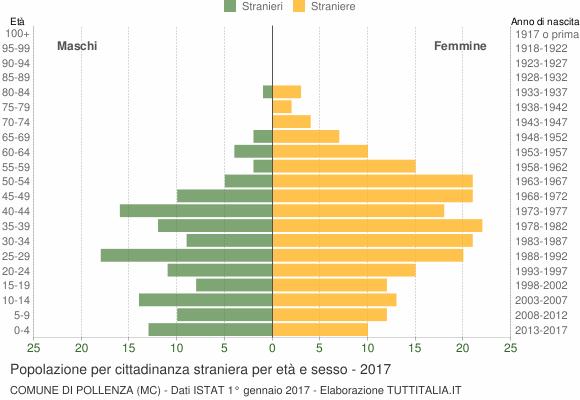 Grafico cittadini stranieri - Pollenza 2017