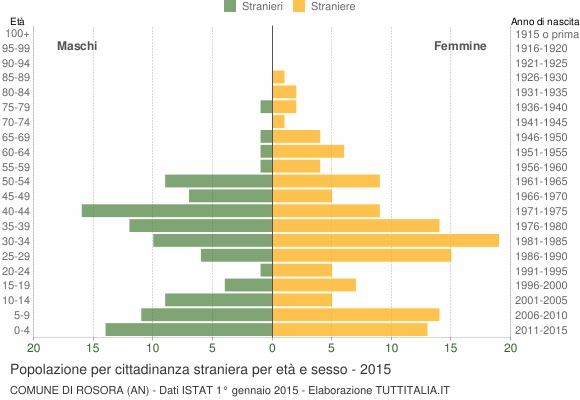 Grafico cittadini stranieri - Rosora 2015