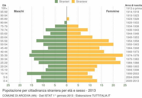 Grafico cittadini stranieri - Arcevia 2013