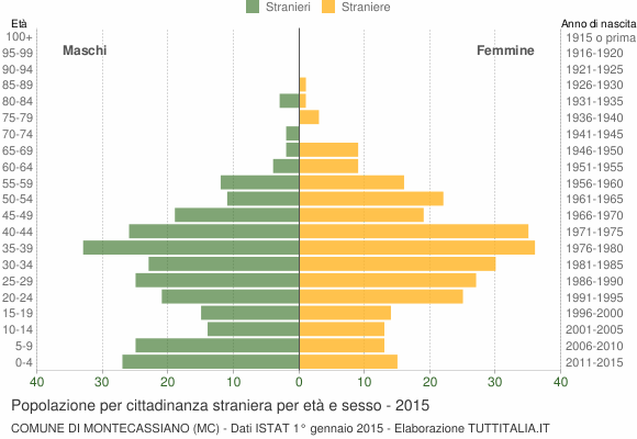 Grafico cittadini stranieri - Montecassiano 2015