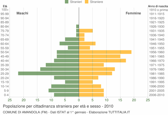 Grafico cittadini stranieri - Amandola 2010