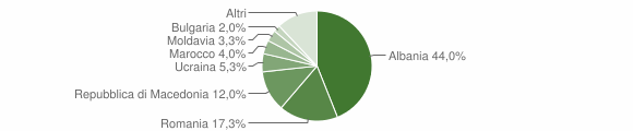 Grafico cittadinanza stranieri - Piobbico 2019