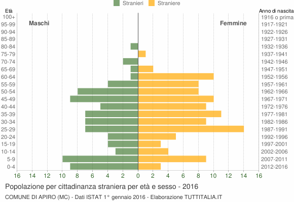 Grafico cittadini stranieri - Apiro 2016