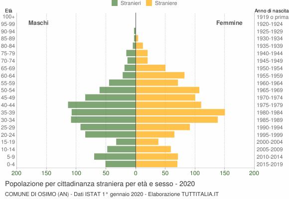 Grafico cittadini stranieri - Osimo 2020