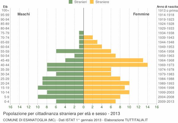Grafico cittadini stranieri - Esanatoglia 2013