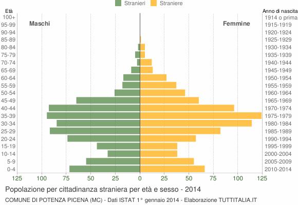 Grafico cittadini stranieri - Potenza Picena 2014