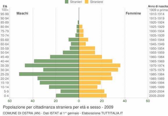 Grafico cittadini stranieri - Ostra 2009