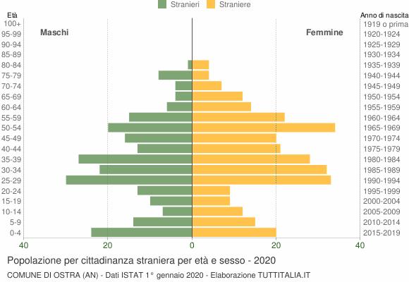 Grafico cittadini stranieri - Ostra 2020