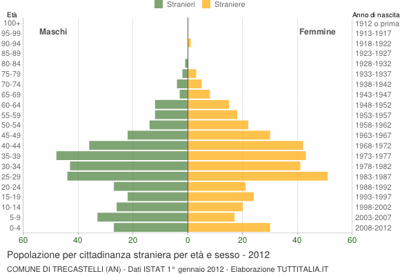 Grafico cittadini stranieri - Trecastelli 2012