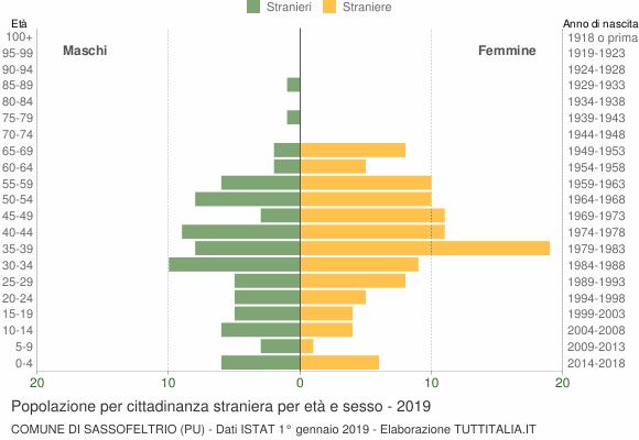 Grafico cittadini stranieri - Sassofeltrio 2019