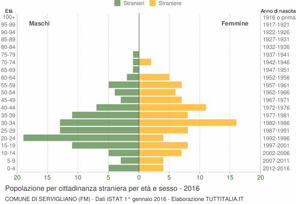 Grafico cittadini stranieri - Servigliano 2016