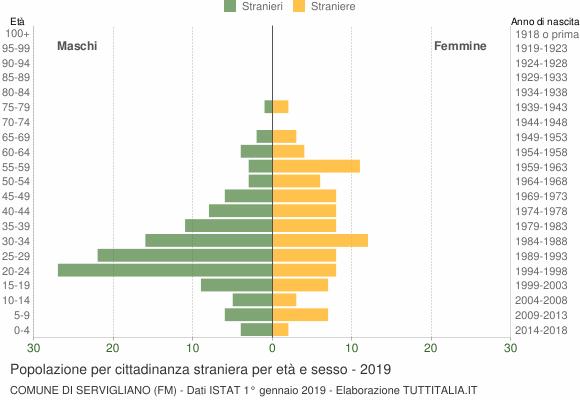 Grafico cittadini stranieri - Servigliano 2019