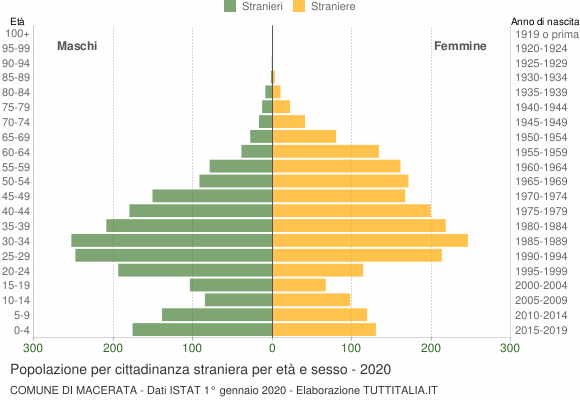 Grafico cittadini stranieri - Macerata 2020