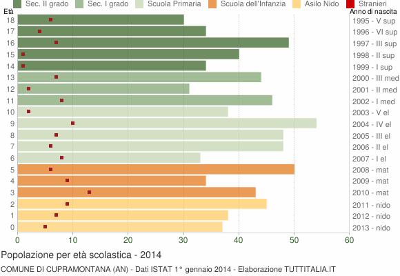 Grafico Popolazione in età scolastica - Cupramontana 2014