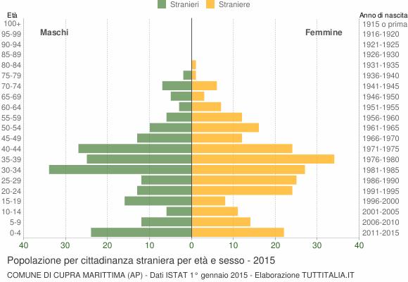 Grafico cittadini stranieri - Cupra Marittima 2015