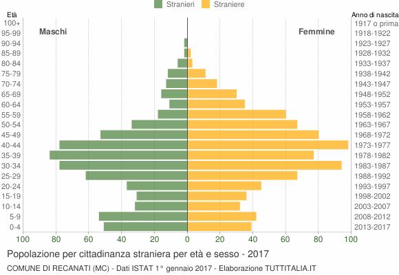 Grafico cittadini stranieri - Recanati 2017